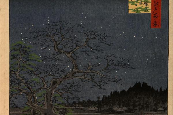 Утагава Хиросигэ. «Лисьи огни» в последний день года у железного дерева в Сёдзоку, в районе Ози