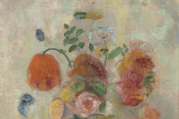 Odilon Redon. A large vase with flowers