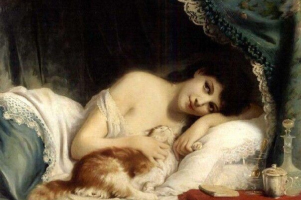 Fritz Zuber-Buhler. The mournful beauty and her cat