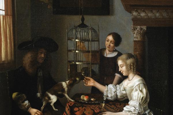 Pieter de Hooch. A Lady Feeding a Parrot