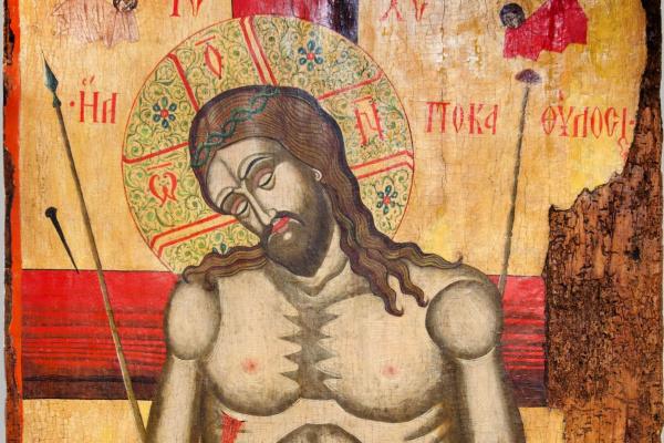 """Болгарская икона. Христос во гробу. Обратная сторона двусторонней иконы """"Христос Пантократор"""""""