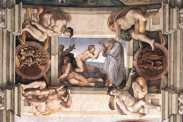 Микеланджело Буонарроти. Потолок Сикстинской капеллы. Фрагмент.