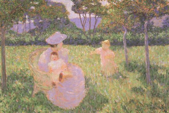 Тед Батлер. Женщина с детьми в саду