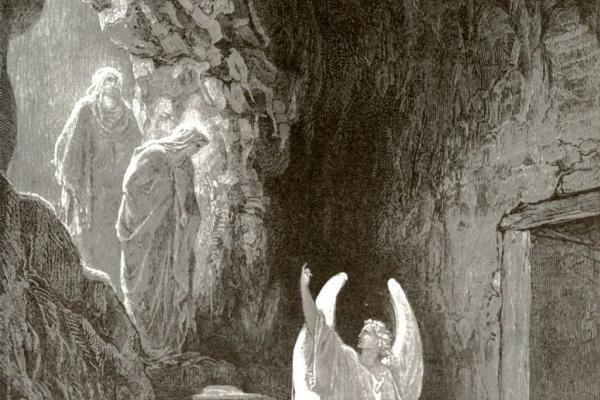 Paul Gustave Dore. The angel and the myrrh-bearing women