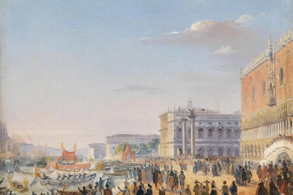 Ипполито Каффи. Arrival of Emperor Franz Joseph and Empress Elizabeth of Austria in 1856 in Venice