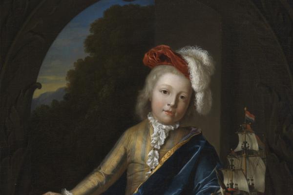Питер ван дер Верф. Портрет мальчика с моделью трёхмачтового корабля