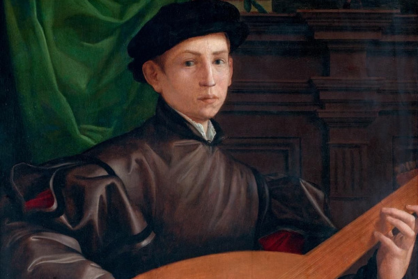 Francesco Salviati. Portrait of young man with lute
