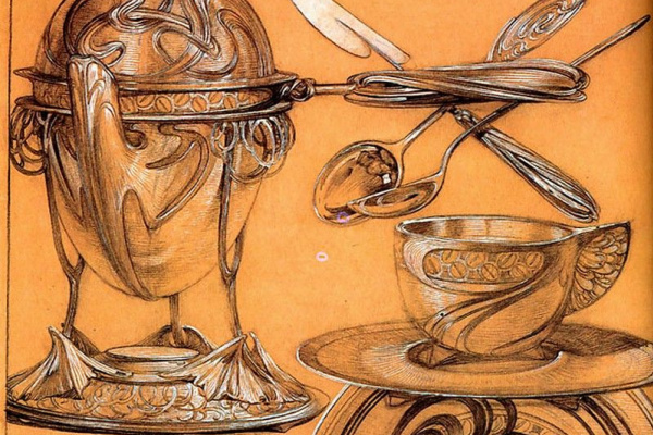 Alfons Mucha. Cutlery. Etude