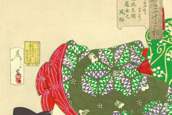 """Цукиока Ёситоси. Юная девушка эпохи Кансэй играет с кошкой. Серия """"32 женских лика повседневности"""""""