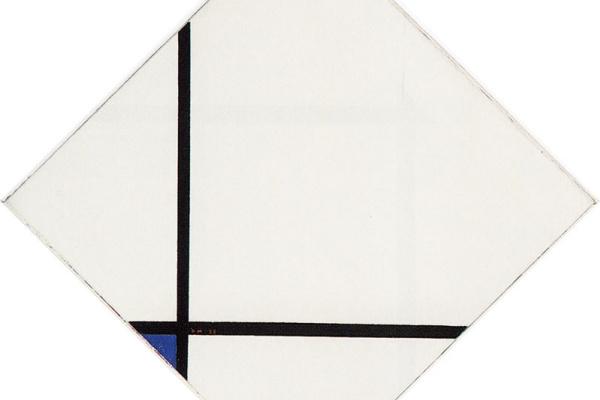 Пит Мондриан. Ромб с двумя линиями и синим цветом