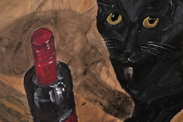 Phaque u parce que. Black cat on ochre floor with a bottle of red wine