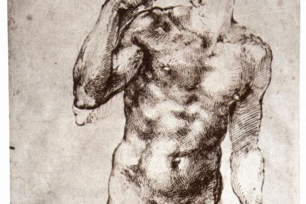 Микеланджело Буонарроти. Стоящий обнаженный (вид спереди)