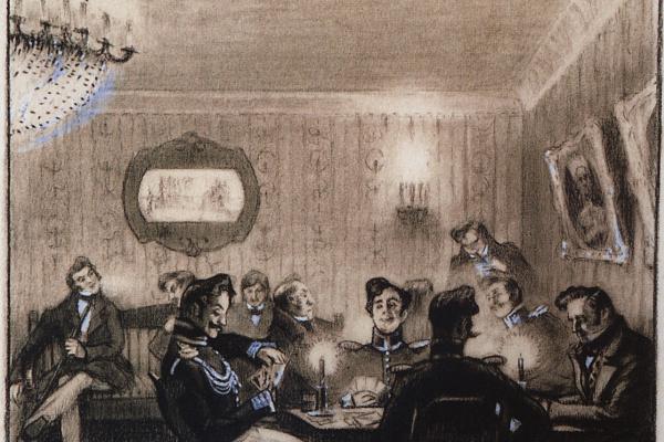 "Boris Mikhailovich Kustodiev. The game of whist. Illustrations to N. V. Gogol's story ""Carriage"""