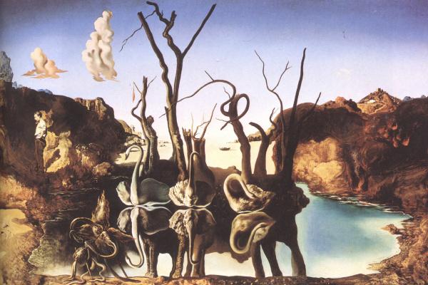 Сальвадор Дали. Лебеди, отражающиеся в слонах