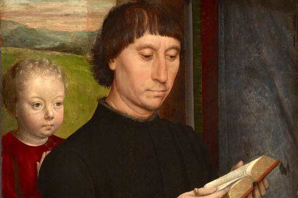 Hans Memling. Praying man with his dead son