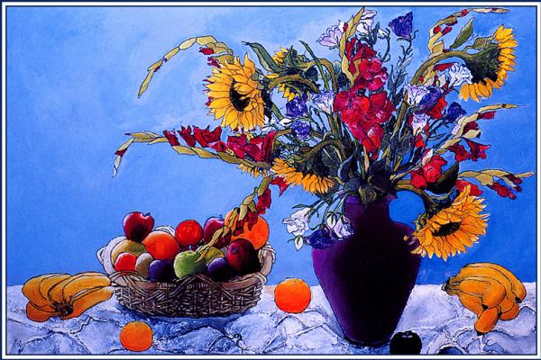 Рамаия Шанкар. Натюрморт с цветами и фруктами
