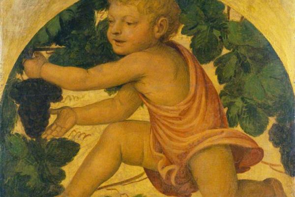 Бернардино Луини. Путто собирает виноград