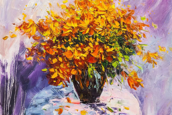 (no name). Bouquet of yellow flowers in a vase