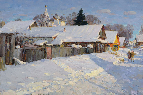 Alexander Victorovich Shevelyov. Kostroma. A street in the working suburb. Oil on canvas 59.5 x 81 cm. 2016
