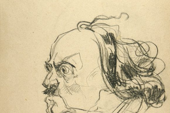 Павел Петрович Соколов - Скаля. Портрет императора Петра I. 1940-е  итальянский карандаш