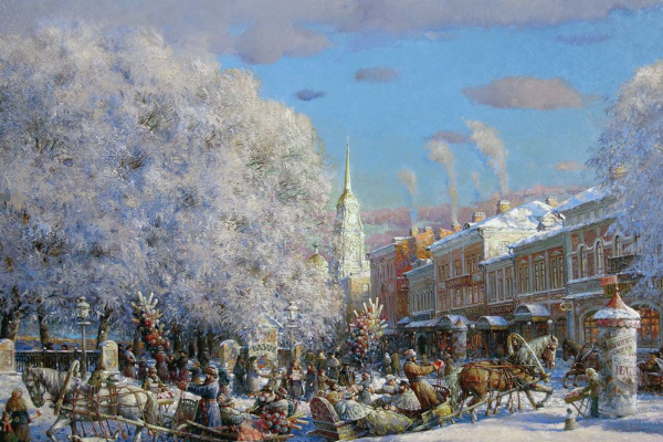 Alexander Victorovich Shevelyov. Skating on the waterfront . Canvas oil 72,3 # 97,5 cm 2005