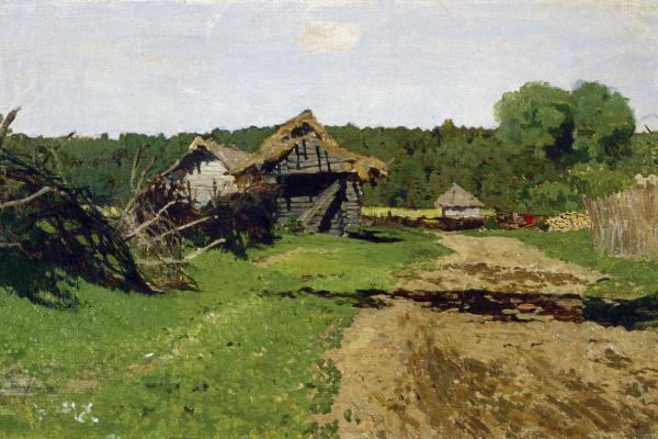 Исаак Ильич Левитан. Въезд в деревню. Этюд