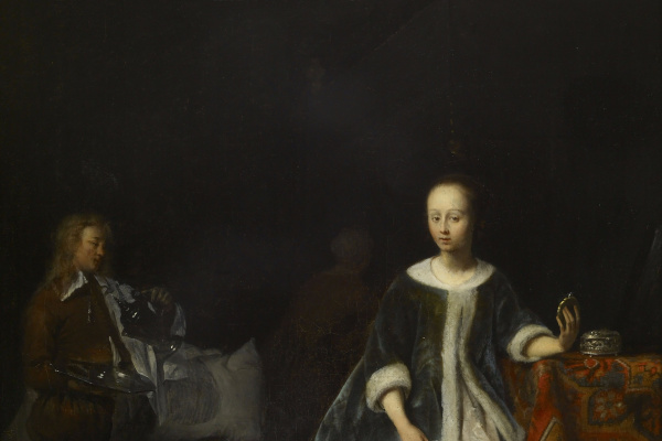 Gabrielle Metsu. The girl behind the toilet