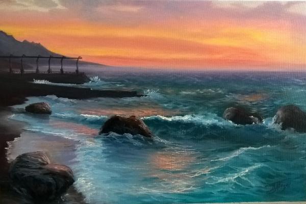 Nina Anatolyevna Vinogradova. Foros. Sea at dawn.
