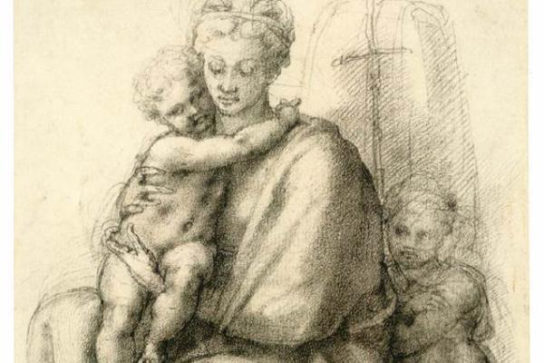 Michelangelo Buonarroti. Madonna and child with John the Baptist