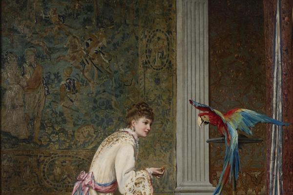 Хендрик Фредерик Кеммерер. Дама с попугаем .