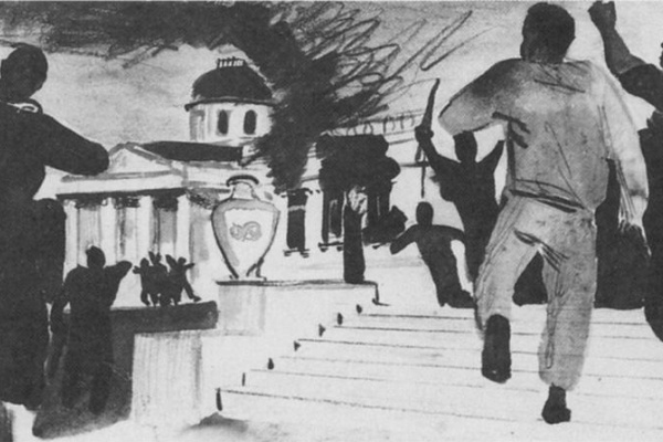 Alexander Alexandrovich Deineka. A peasant uprising. The sketch for the painting of the Assembly hall of the building of the people's Commissariat
