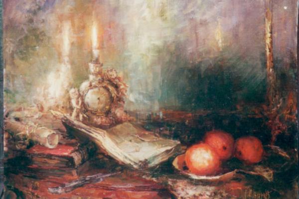Юрий Новиков. Натюрморт с апельсином.  2007