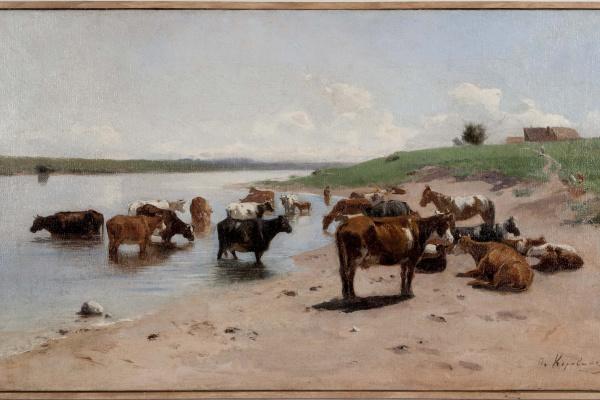Петр Иванович Коровин. Без названия (Стадо у реки). 1887