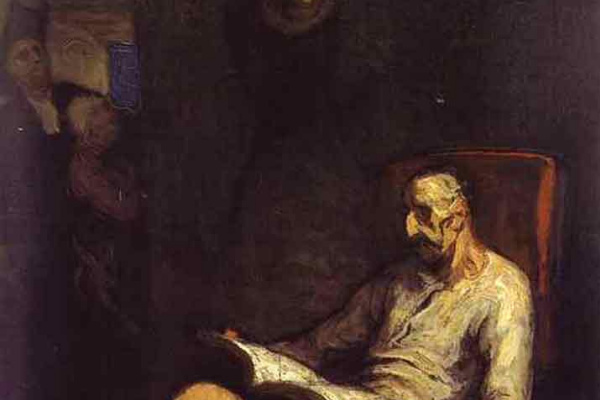 Оноре Домье. Кон Кихот, читающий рыцарский роман