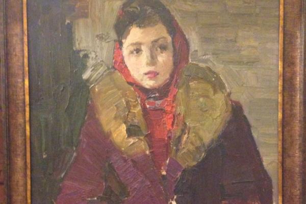 """Сергей Дмитриевич Кожаев. """"Портрет современницы"""", 1970-е гг., к/м, 70х50"""
