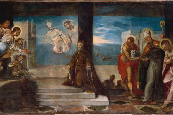 Jacopo Tintoretto. Doge Alvise Mocenigo appears to the Savior