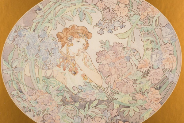 Alphonse Mucha. Woman surrounded by flowers