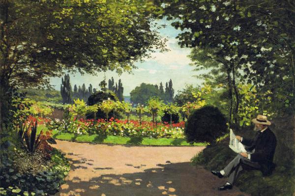 Claude Monet. Adolphe Monet reading in the garden