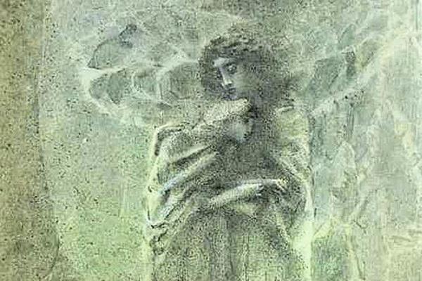 Михаил Александрович Врубель. Демон и Ангел с душой Тамары. Иллюстрация к поэме М.Ю. Лермонтова «Демон»