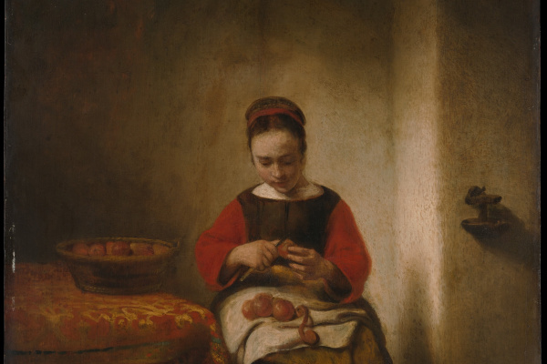 Nicholas Mas. Young woman cleans the apples