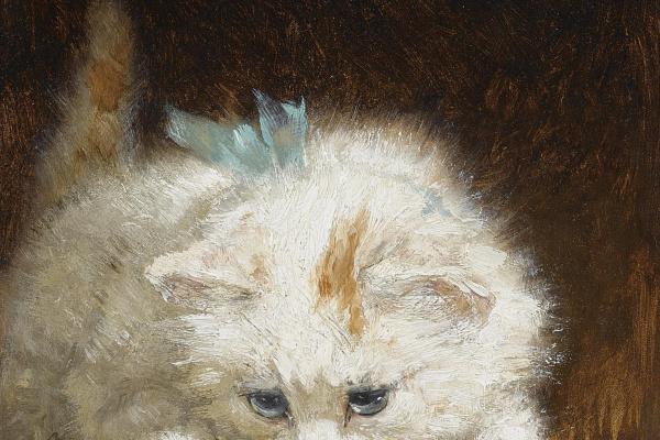 Henrietta Ronner Knip. Kitten watching a butterfly