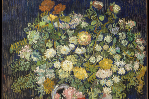 Vincent van Gogh. Chrysanthemums and wild flowers in a vase