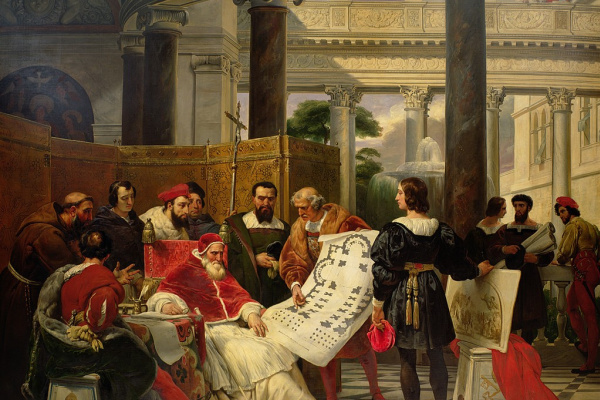 Emil Jean Oras Verne. Pope Julius II ordering Bramante, Michelangelo and Raphael to construct the Vatican and St. Peters
