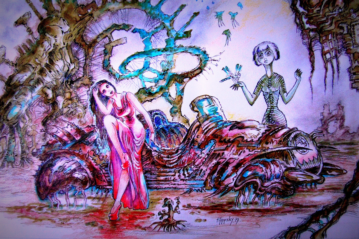 Victor Philippi. Old biomechanical car with his friends from other worlds.