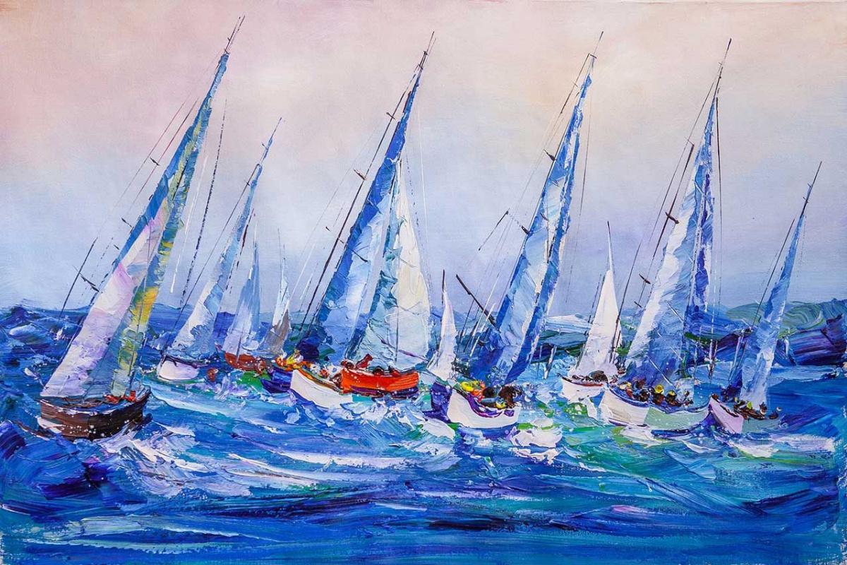 Jose Rodriguez. Regatta. Blue and white landscape N5
