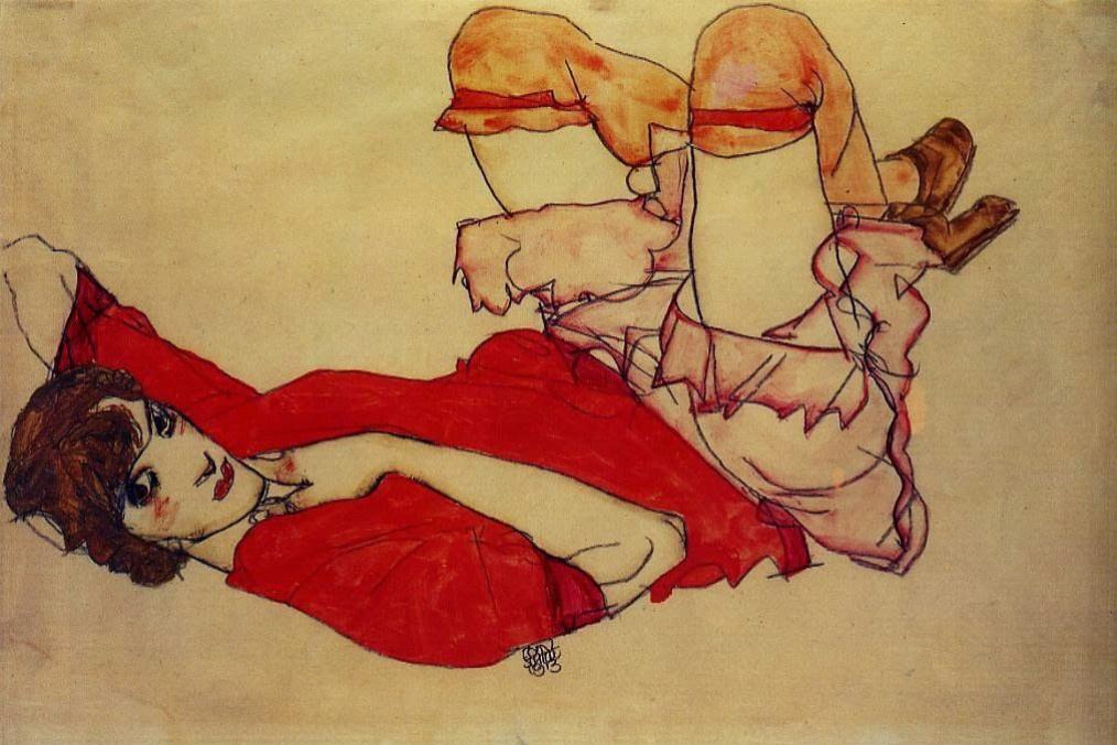 Эгон Шиле. Валли в красной блузке