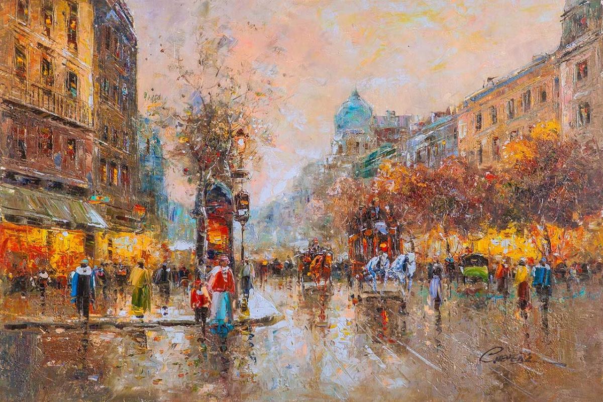 """(no name). Landscape of Paris by Antoine Blanchard """"Les grands boulevards"""" (Grands boulevards of Paris)"""