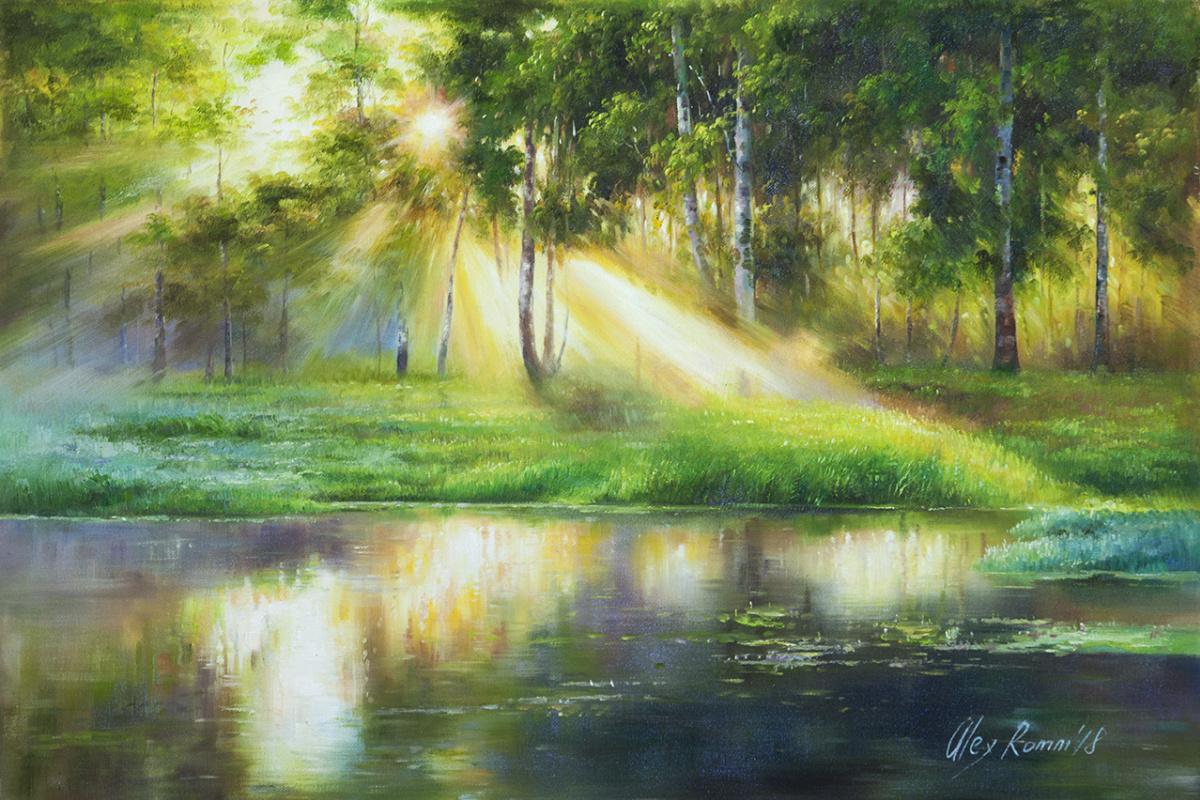 Alexander Romm. Morning sun in birches