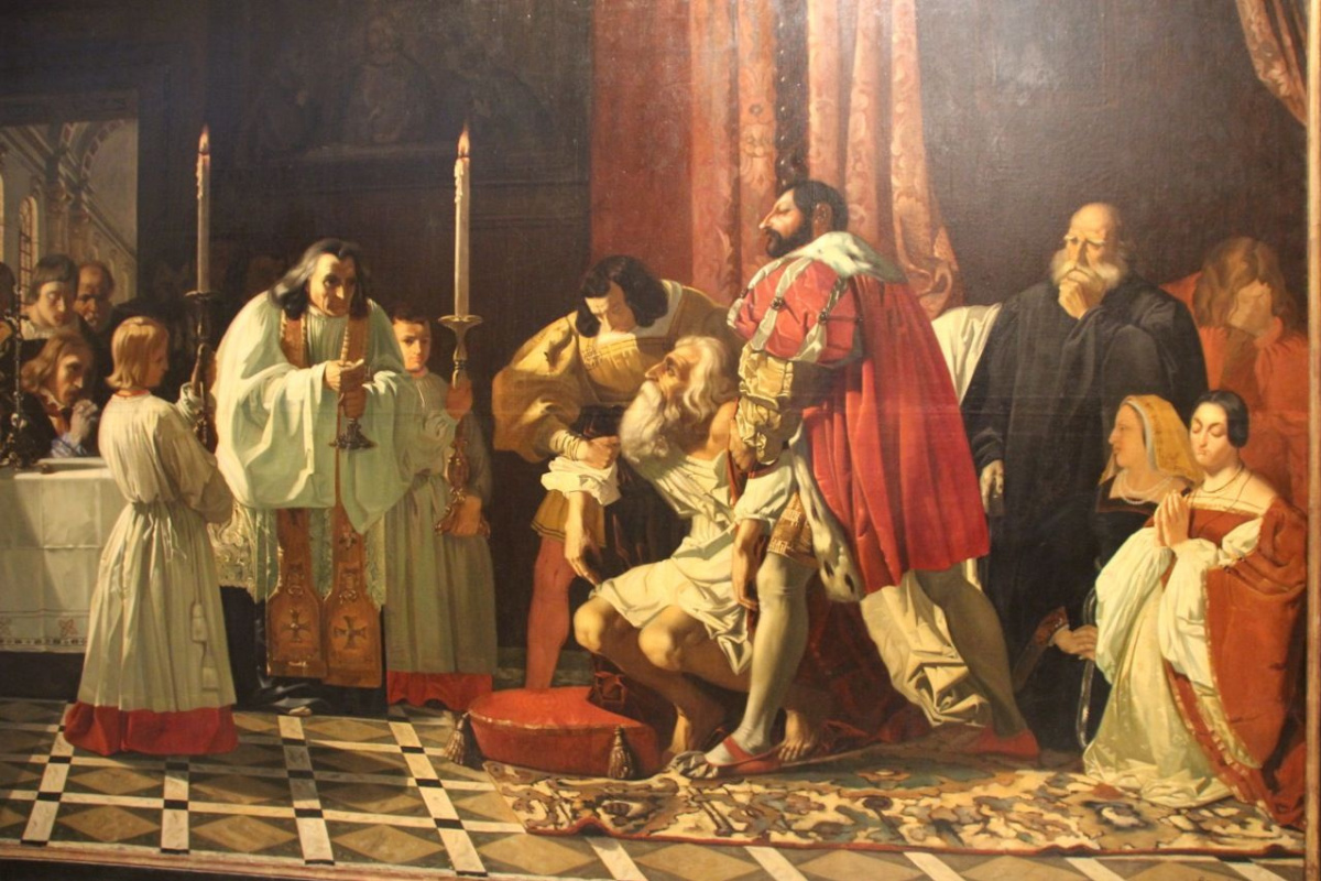 Jean Francois Gigue. The last moments of Leonardo da Vinci