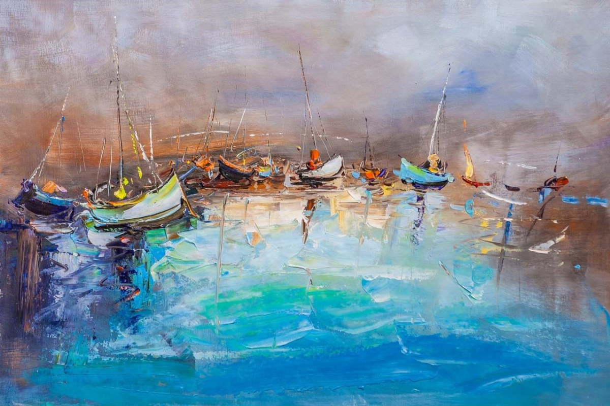 Jose Rodriguez. Boats in the turquoise sea
